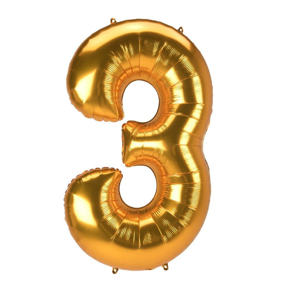 "86cm (34"") Gold Number 3 Foil Balloon-Party Love"
