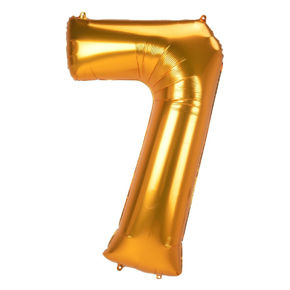 "86cm (34"") Gold Number 7 Foil Balloon-Party Love"