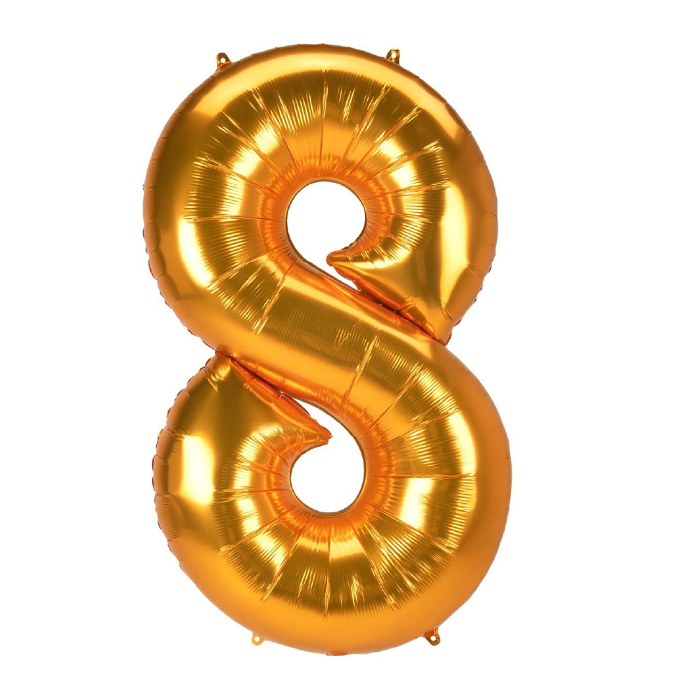 "86cm (34"") Gold Number 8 Foil Balloon-Party Love"