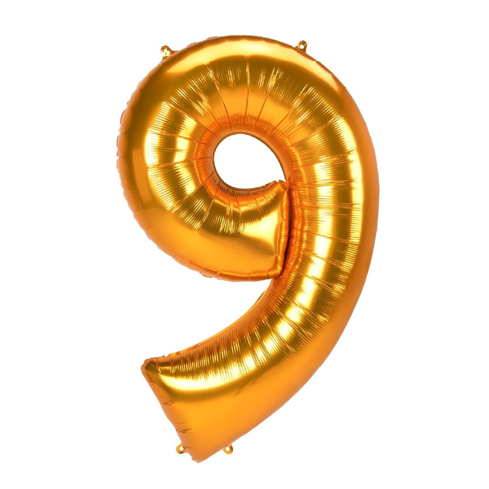 "86cm (34"") Gold Number 9 Foil Balloon-Party Love"