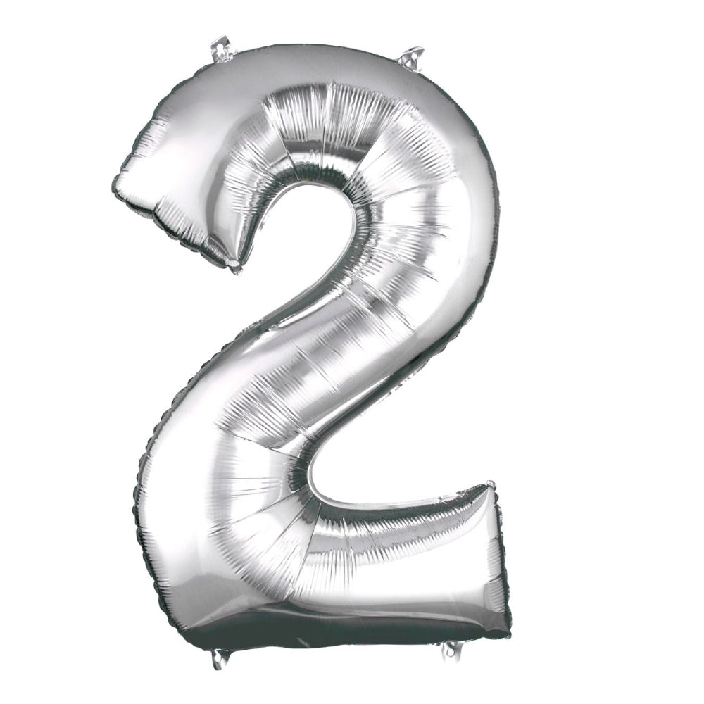 "86cm (34"") Silver Number 2 Foil Balloon-Party Love"