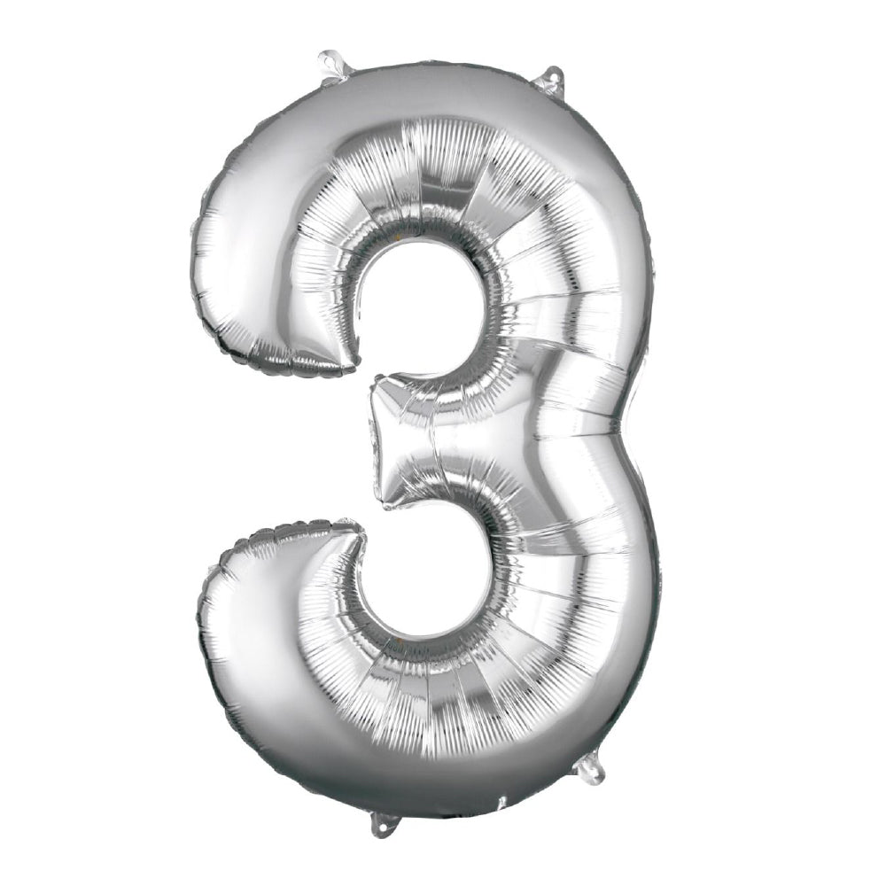 "86cm (34"") Silver Number 3 Foil Balloon-Party Love"