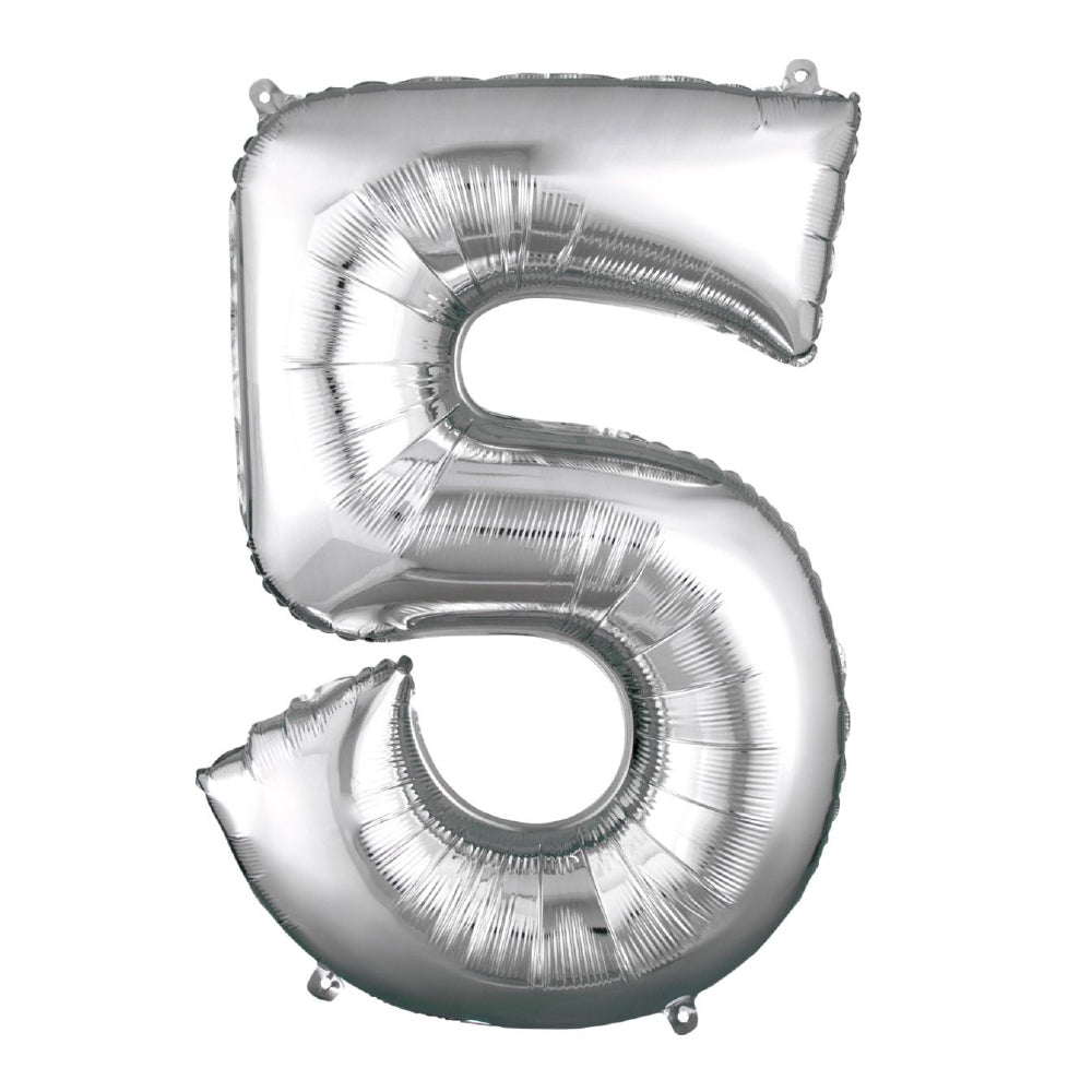 "86cm (34"") Silver Number 5 Foil Balloon-Party Love"