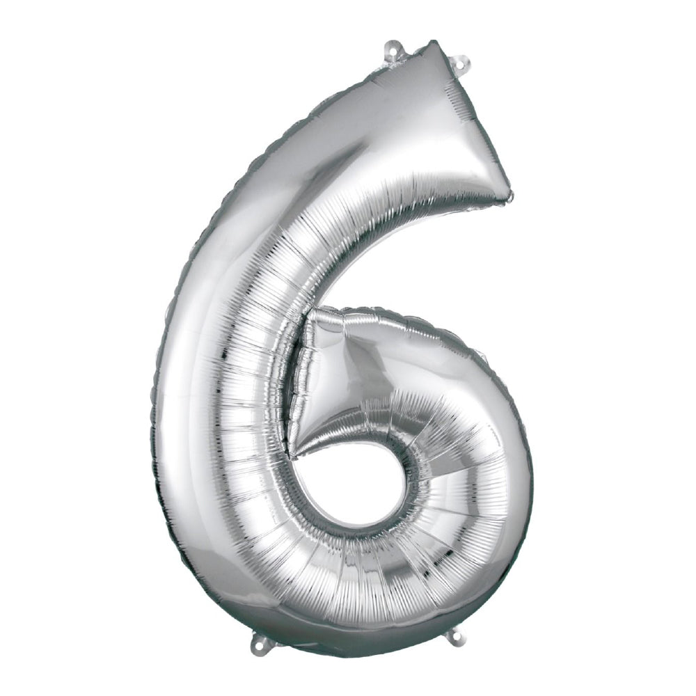 "86cm (34"") Silver Number 6 Foil Balloon-Party Love"