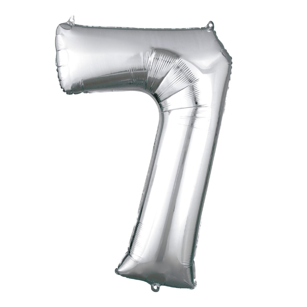 "86cm (34"") Silver Number 7 Foil Balloon-Party Love"