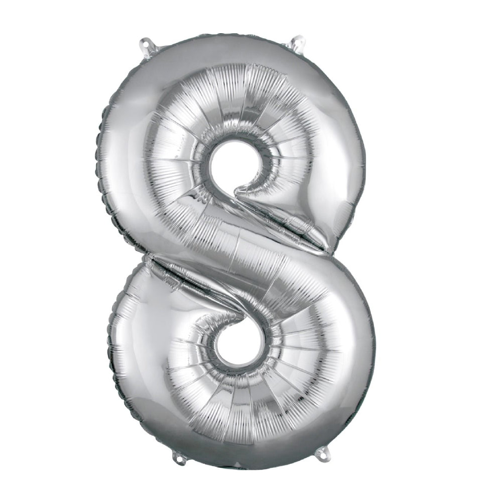 "86cm (34"") Silver Number 8 Foil Balloon-Party Love"