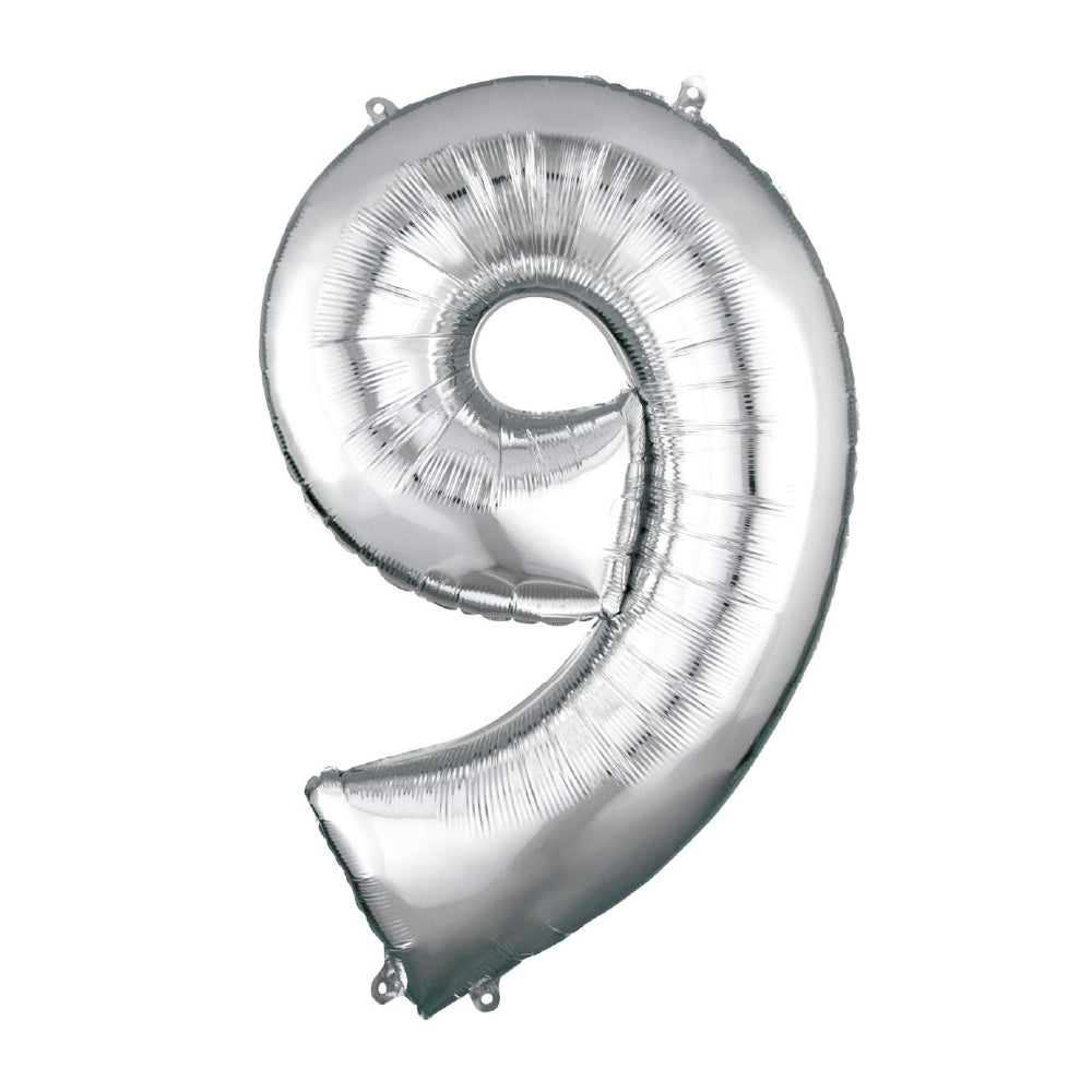 "86cm (34"") Silver Number 9 Foil Balloon-Party Love"