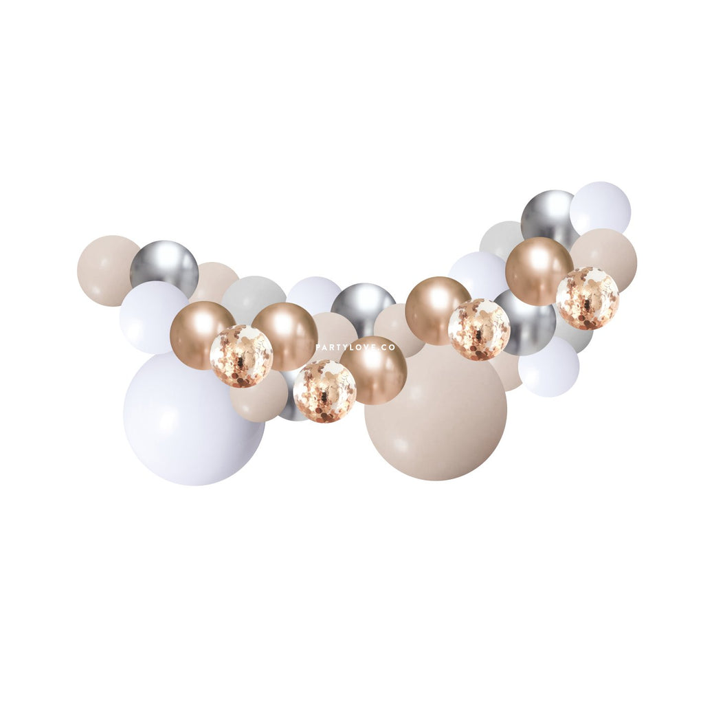 Champagne White Sand Rose Gold Balloon Garland Kit 2 Meter BG25-Party Love
