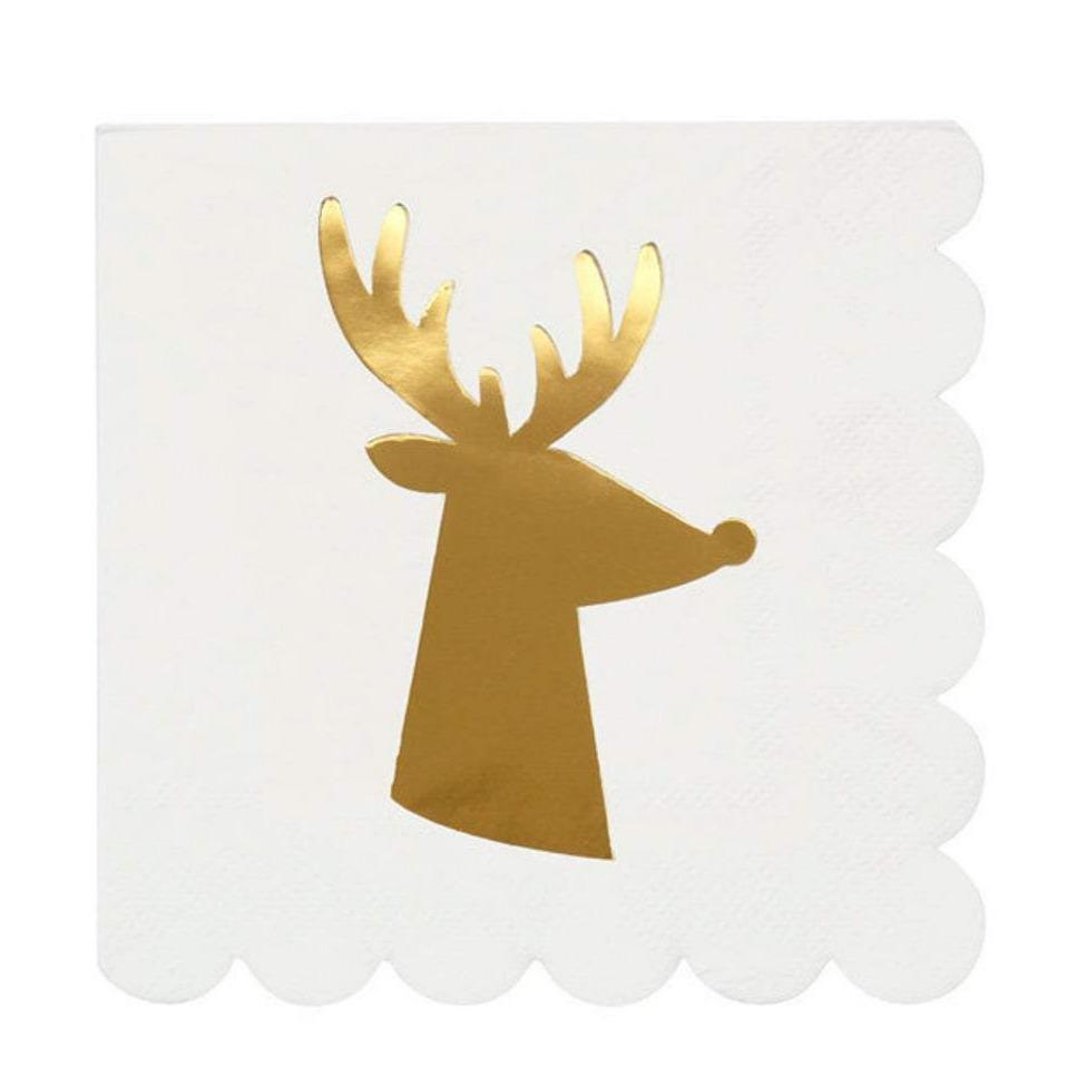 Gold Foil Reindeer Cocktail Christmas Napkins-Party Love
