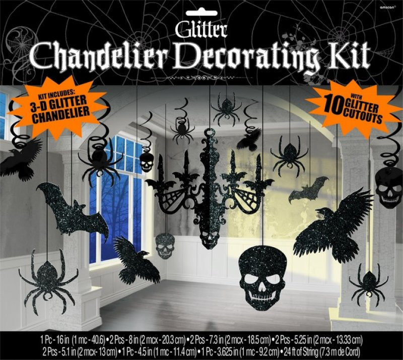 Halloween Chandelier Decorating Kit Glittered Cardboard-Party Love