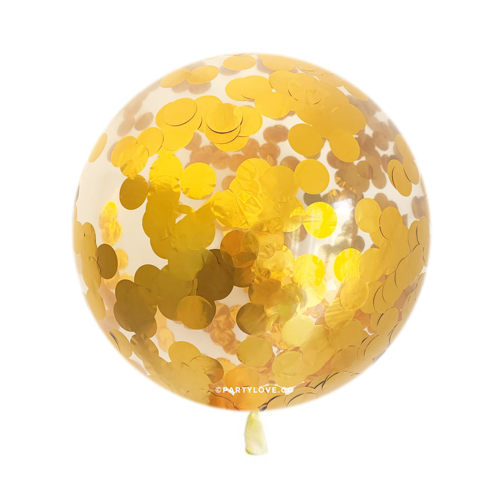 Gold 3.8cm Confetti Balloon (3 Sizes Available)-Party Love