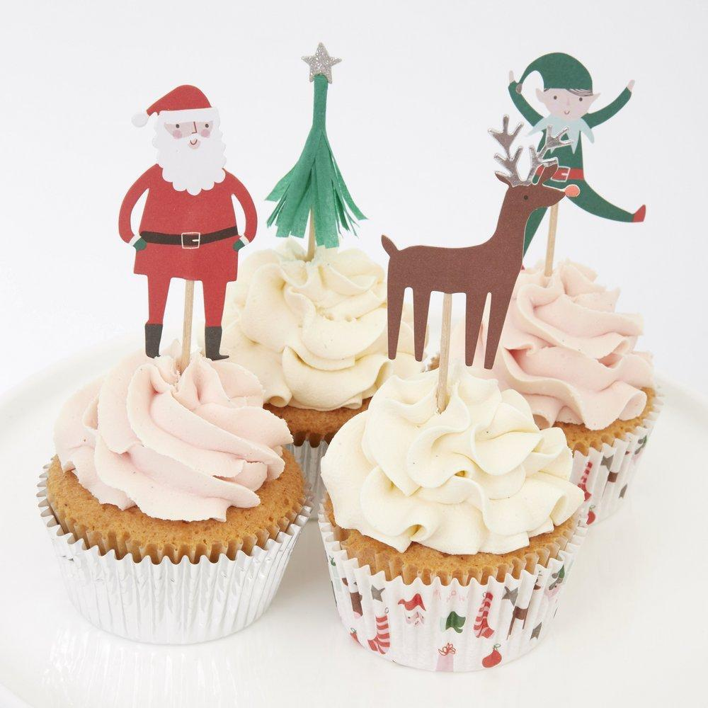 Meri Meri Santa Christmas Cupcake Kit-Party Love