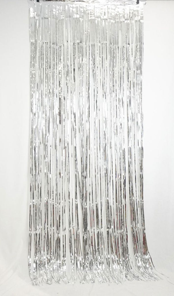 Metallic Silver Curtain (1m x 2.4m)-Party Love