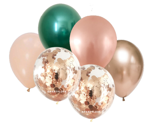 Lush Gold, Blush, Rose Gold Confetti Balloon Bouquet (12 Pack) 12/33-Party Love
