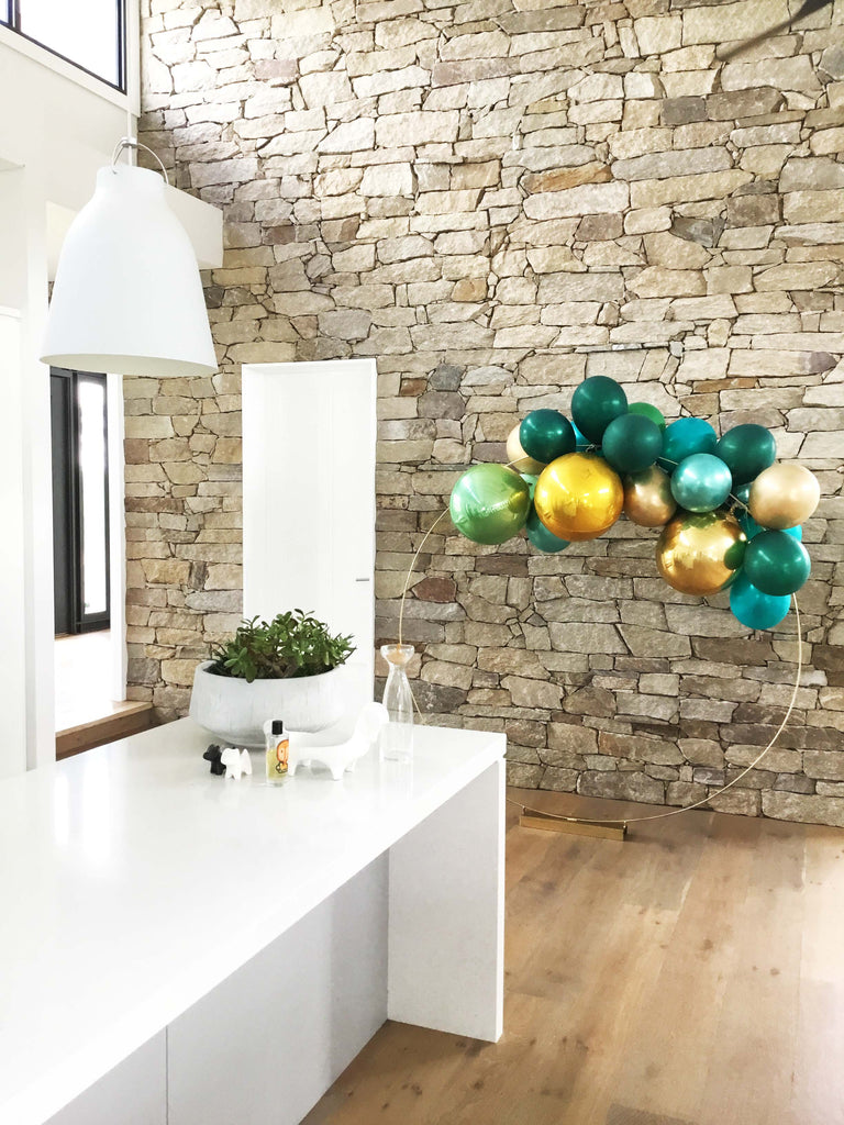 Velvet Gold, Green Teal Ombre Balloon Garland Kit 2 Meter PL2021-Party Love