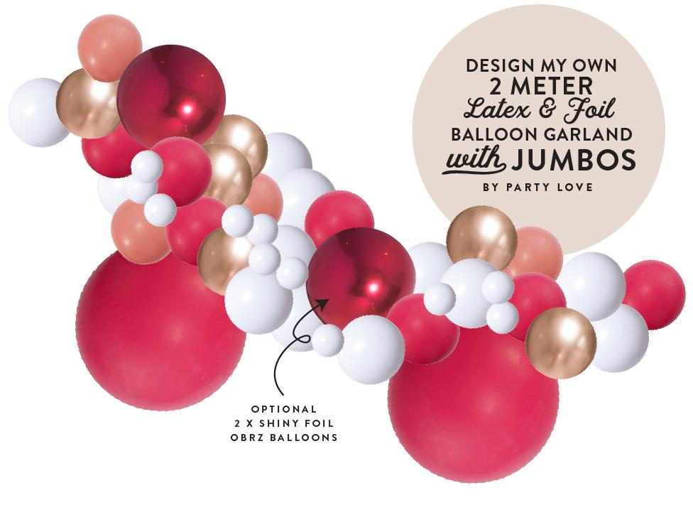 Design My Own Custom Balloon Garland Kit 2 Meter BG55-Party Love