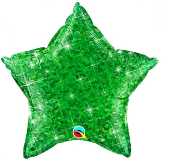 "Green Holographic Star Balloon 20"" (51cm)-Party Love"