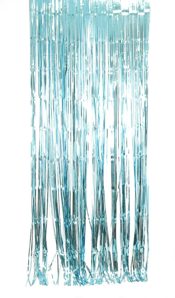 Metallic Light Blue Foil Curtain (1m x 2.4m)-Party Love