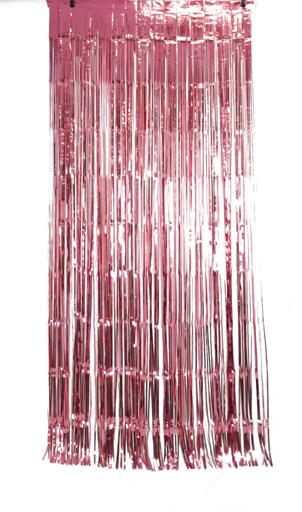 XL Foil Curtain (1m x 2.4m) Metallic Rose Pink-Party Love