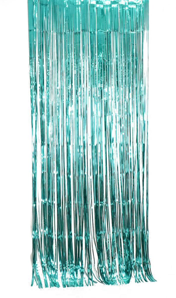 XL Metallic Teal Curtain (1m x 2.4m)-Party Love