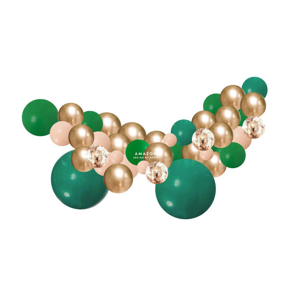 Amazon Green, Gold Balloon Garland Kit 2 Meter PLBG02-Party Love