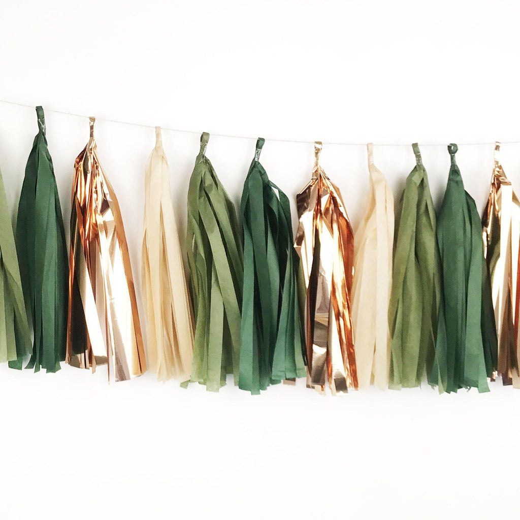 Amazon – Green, Rose Gold Copper Tassel Garland-Party Love