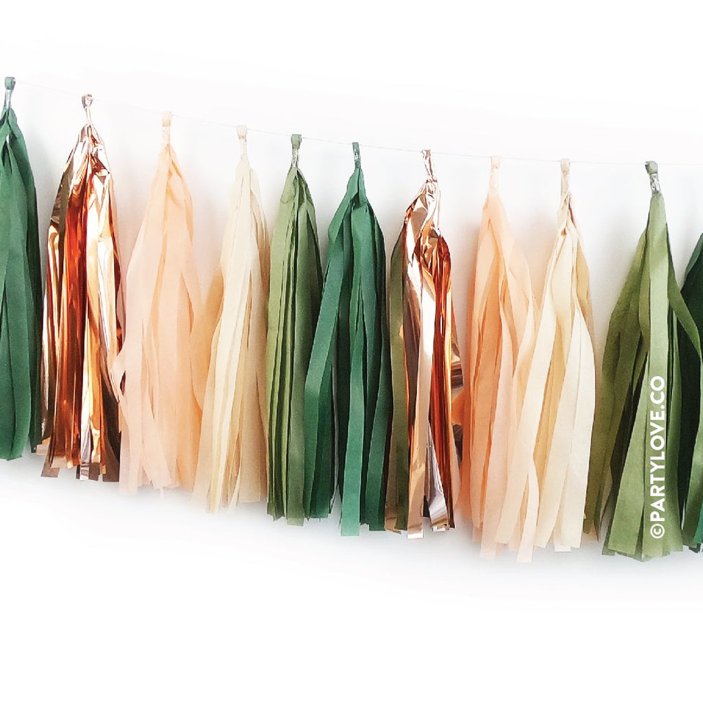 Amazon With Peach – Green, Rose Gold Copper Tassel Garland-Party Love
