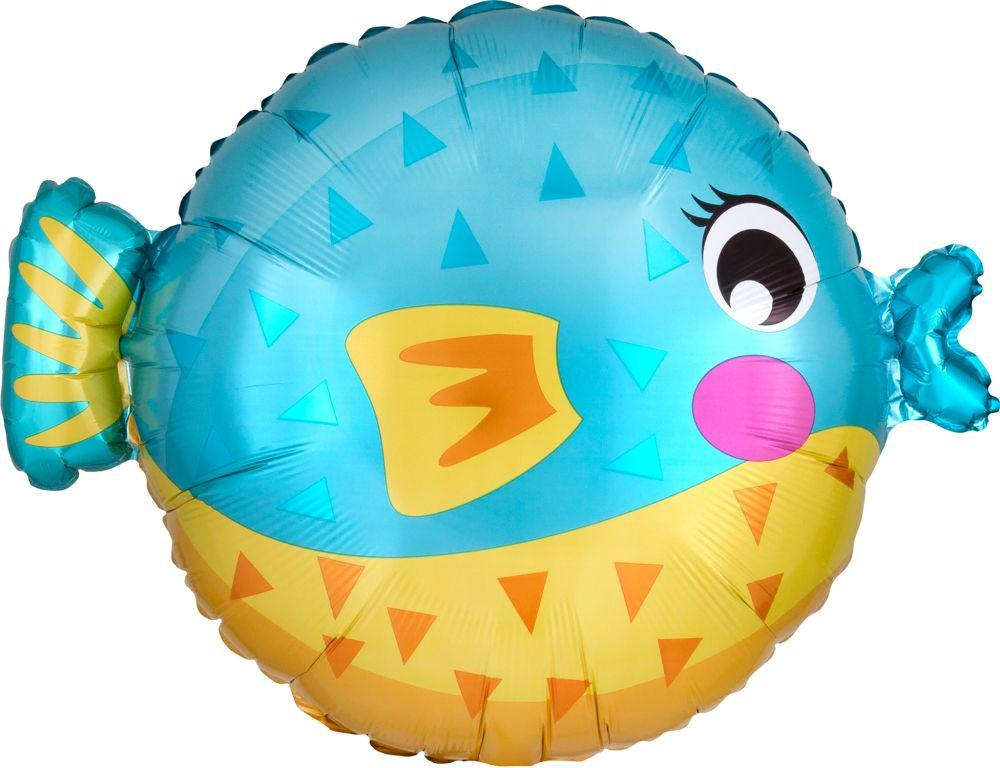 Anagram Foil Jr Shape Puffer Fish Foil Balloon (48cm x 35cm)-Party Love