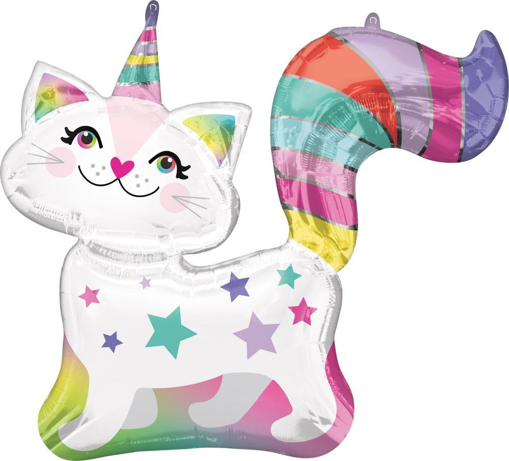 Anagram SuperShape Caticorn Foil Balloon (78cm x 71cm)-Party Love