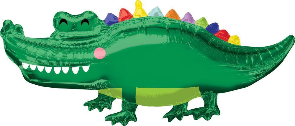Anagram SuperShape Happy Gator crocodile Foil Balloon(106cm x 48cm)-Party Love
