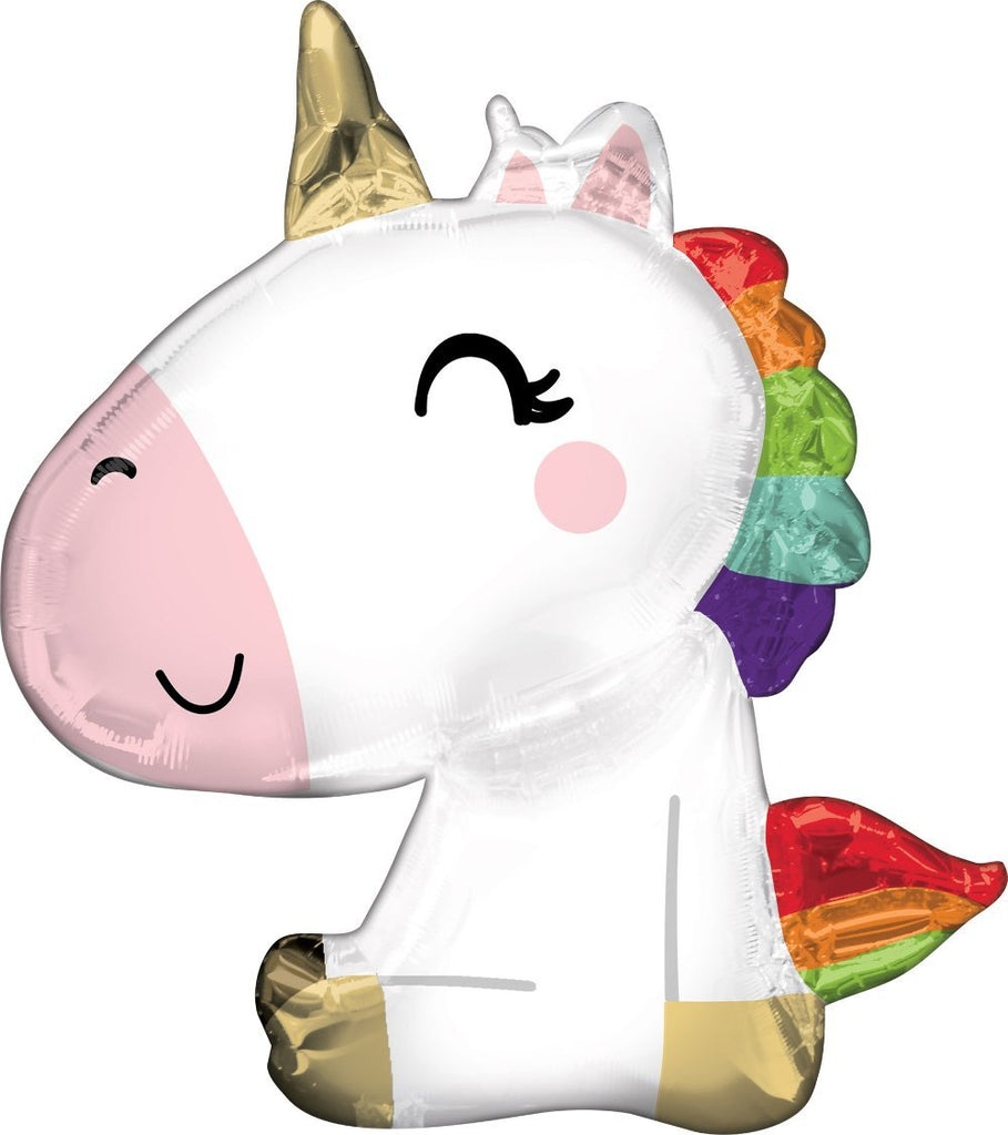 Anagram SuperShape Satin Sitting Unicorn Foil Balloon (68cm x 73cm)-Party Love