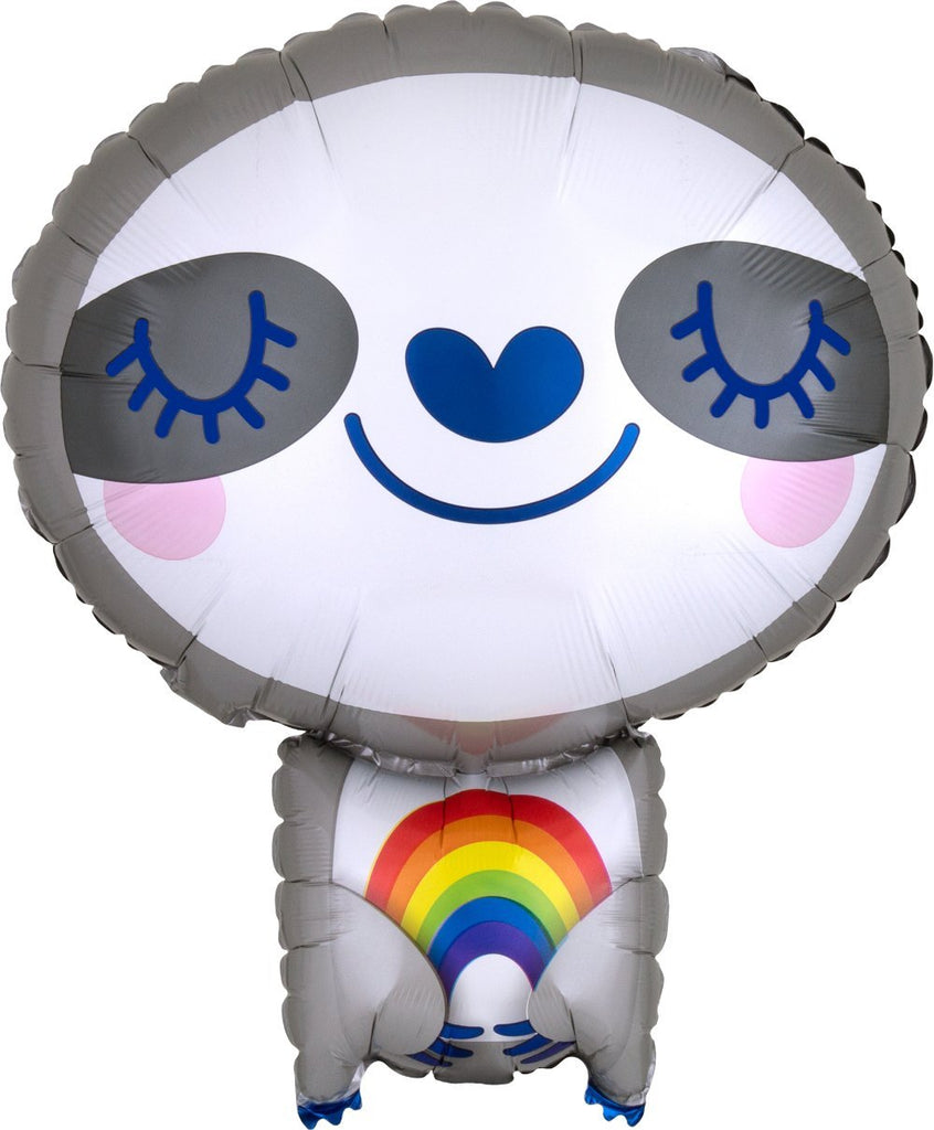 Anagram SuperShape Sloth With Rainbow Foil Balloon (40cm x 48cm)-Party Love