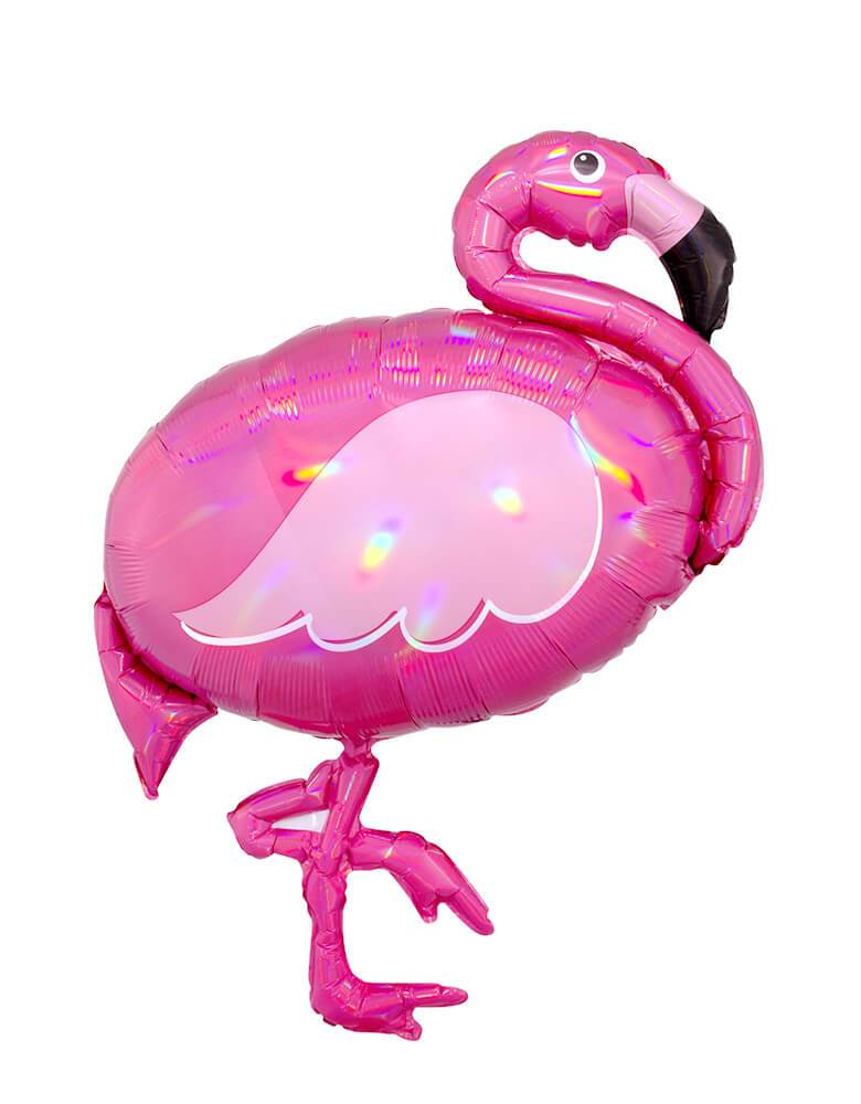 Holographic Iridescent Foil Flamingo Balloon 83cm-Party Love