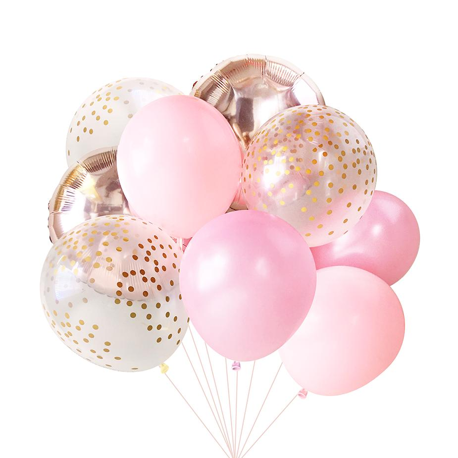 Baby Pink Rose Gold Balloon Bouquet (9 Pack)-Party Love