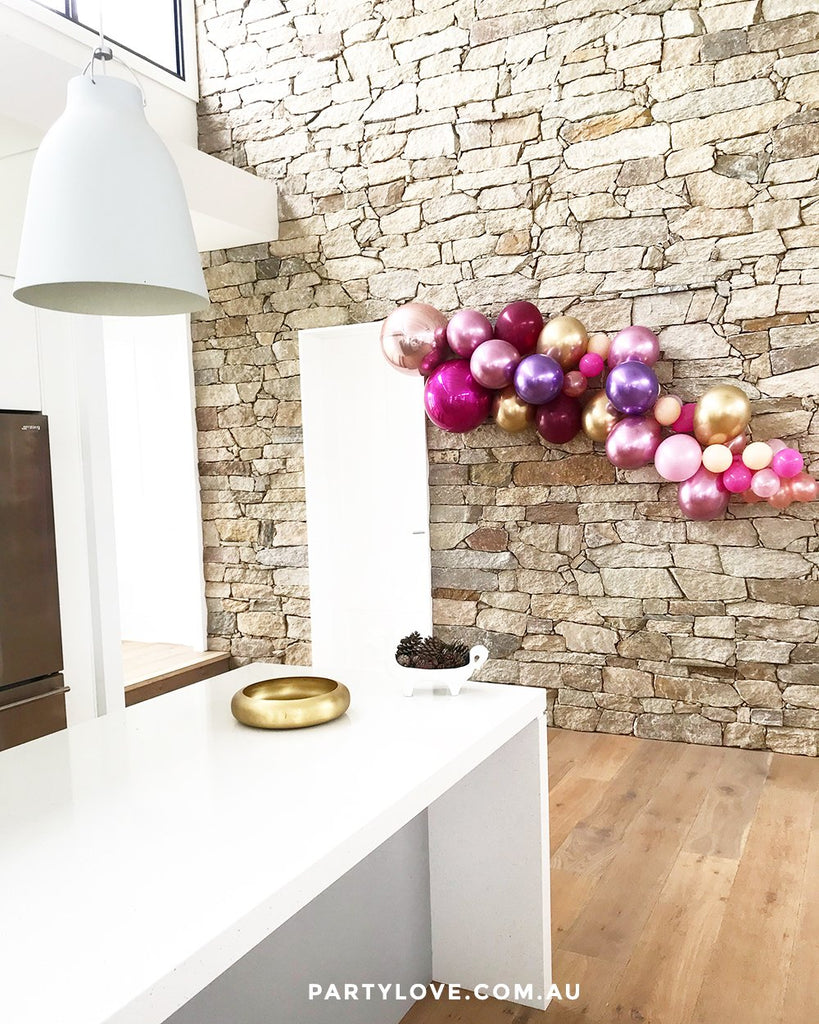 Passion Pop Luxe Chrome 2m Balloon Garland, Rose Gold, Pink, Gold, Burgundy, Mauve