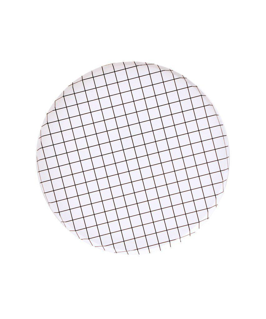 Black Grid Party Plates (Small)-Party Love