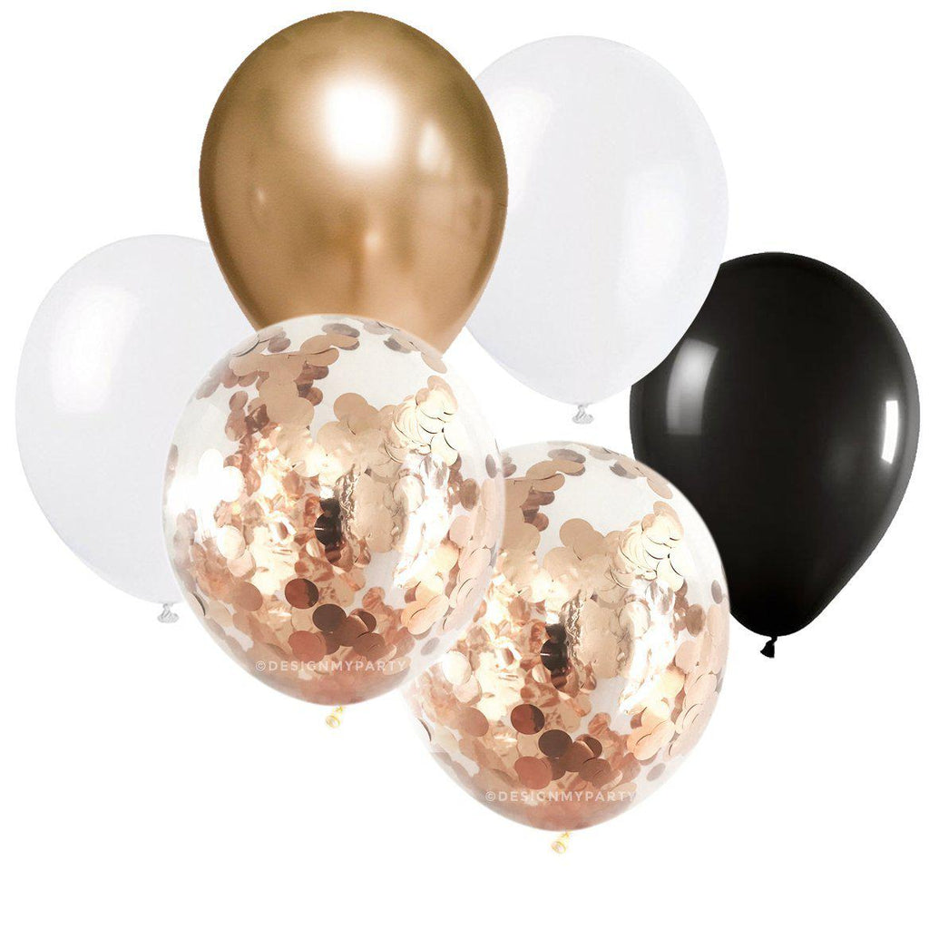 Black Tie Glam – Confetti Balloon Bouquet (12 Pack)-Party Love