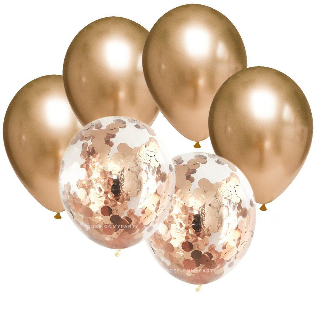 Black Tie Glam – Gold Chrome Confetti Balloon Bouquet (12 Pack)-Party Love