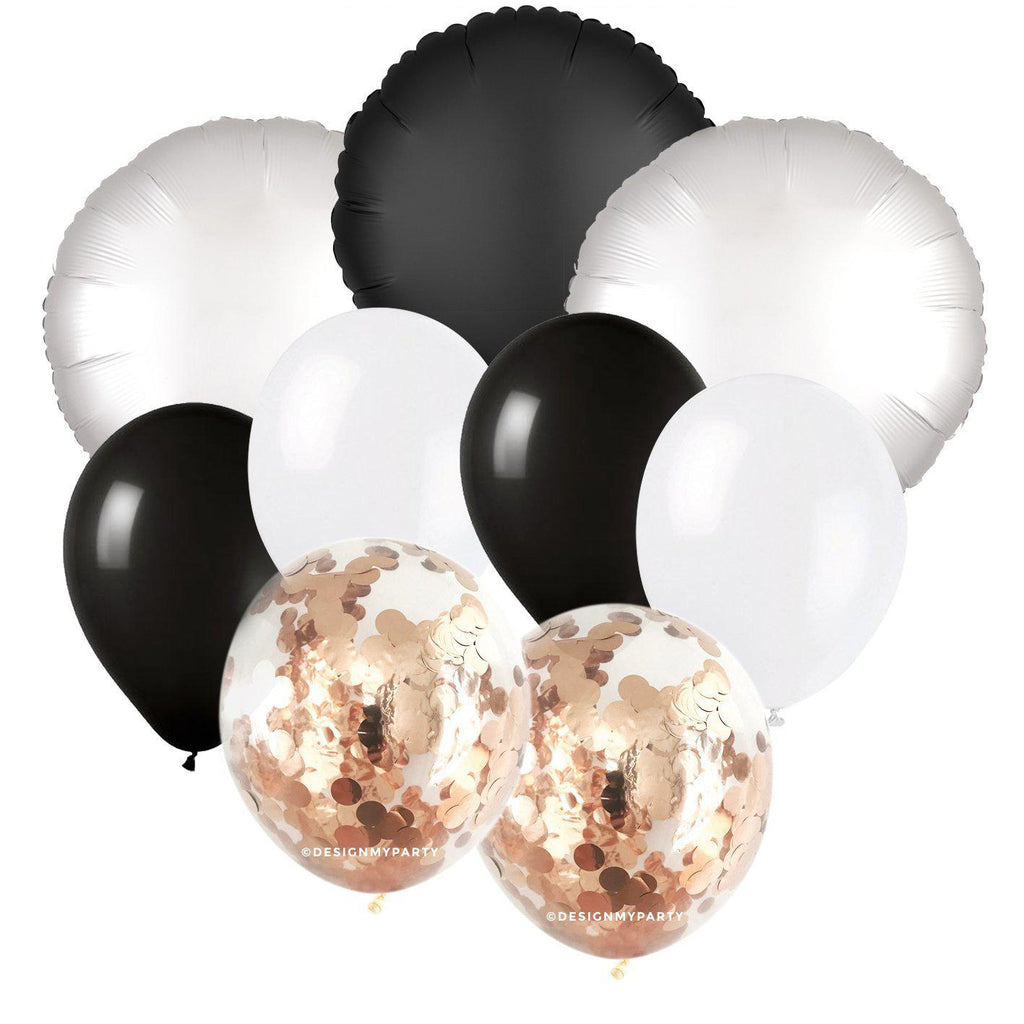 Black Tie Glam – Luxe Chrome Black & White Confetti Balloon Bouquet (9 Pack)-Party Love