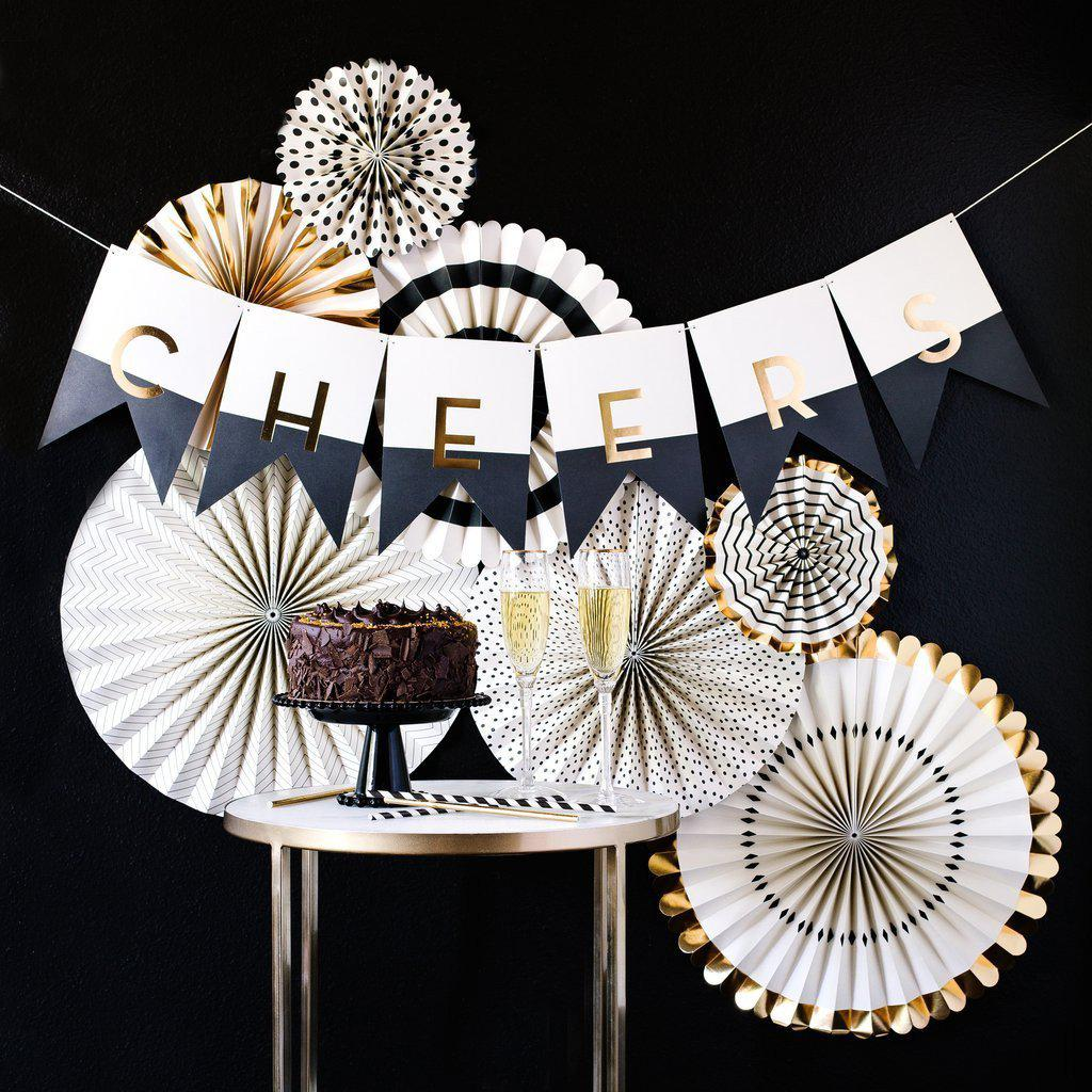 Black Tie Wedding Party Fans, Black, Gold-Party Love