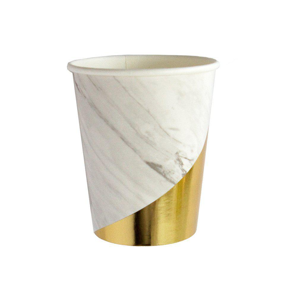 Blanc - Gold with White Marble Paper Cups-Party Love