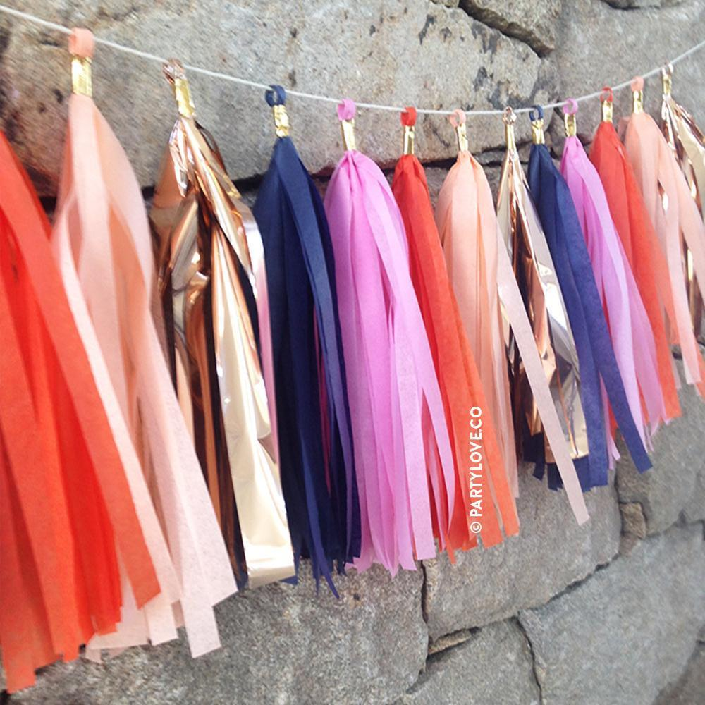 Bliss Pink, Orange, Navy, Rose Gold Tassel Garland-Party Love