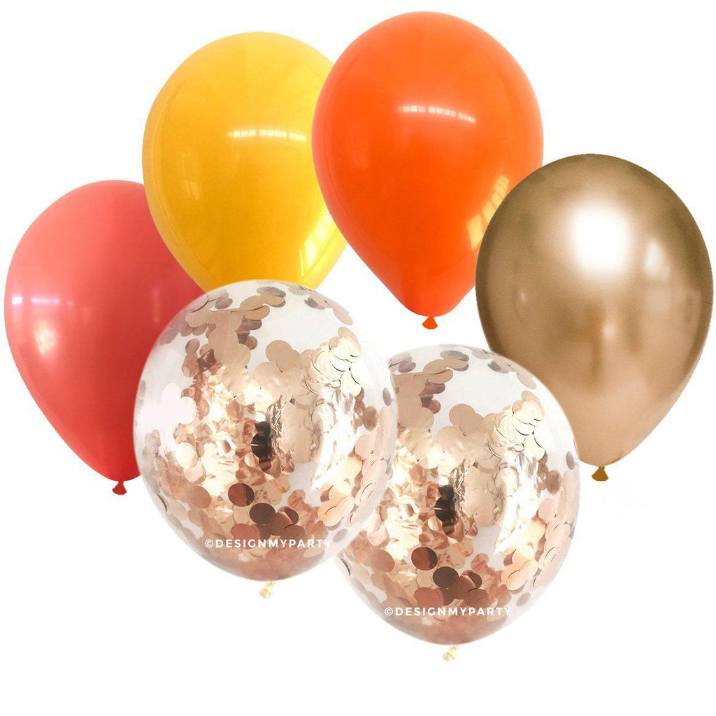 Blood Orange Glam – Rose Gold Confetti Balloon Bouquet (12 Pack)-Party Love