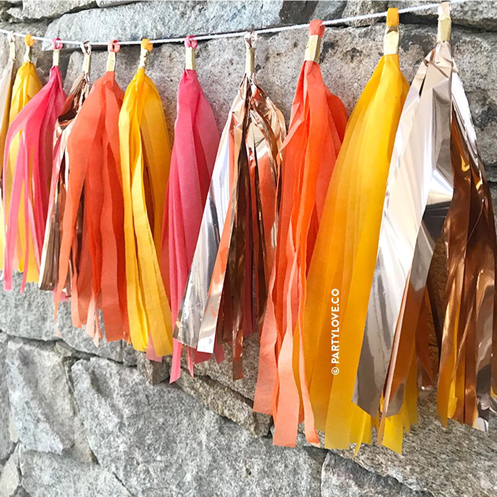 Blood Orange Glam - Yellow, Coral, Orange and Rose Gold Tassel Garland-Party Love