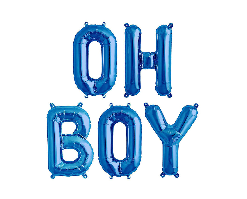 Blue Foil Balloon - Oh Boy - Baby Shower Decorations-Party Love
