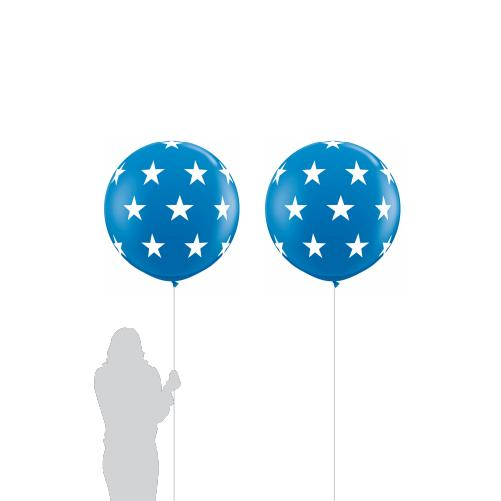 Blue Jumbo Star Balloon (90cm) 2 Pack-Party Love