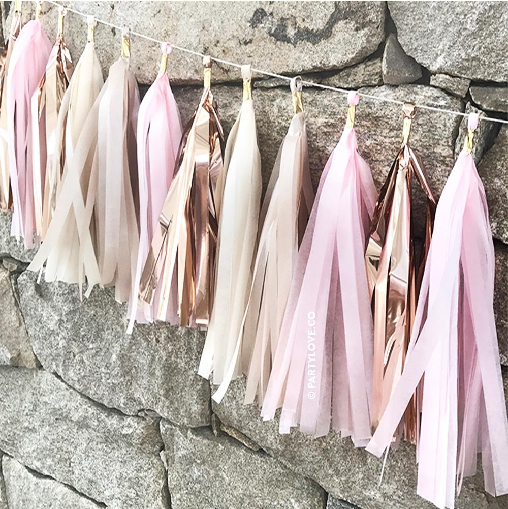 Blush Glam - Light Pink, Ivory & Rose Gold Tassel Garland-Party Love