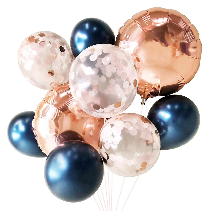 Blush & Navy Balloon Bouquet (9 Pack)-Party Love
