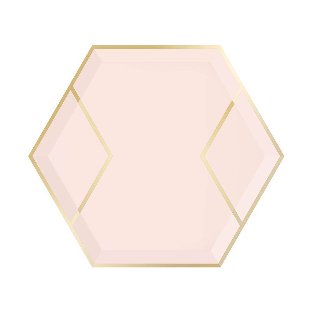 "Blush Pink & Gold Hexagon Party Plates 9""-Party Love"