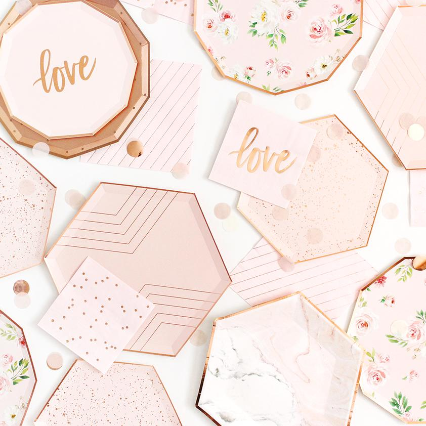 Blush Pink & Gold Striped Napkins-Party Love